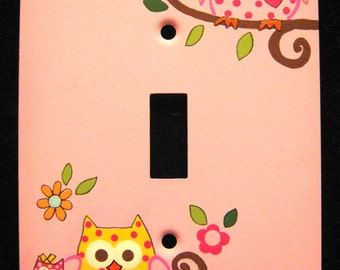HAPPI-TREE Design OWLS - Single Metal Switch Plate Cover - Hand Painted