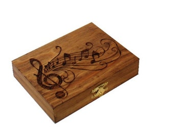 Oboe Reed Case, Wood-burned, Holds 28 reeds