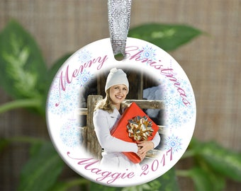 Personalized Christmas Ornament, Photo Christmas ornament, Custom photo Ornament, Memorial gift, First Christmas ornament, Christmas gift.