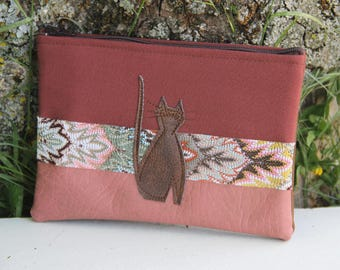Pouch textiles old pink / Brown