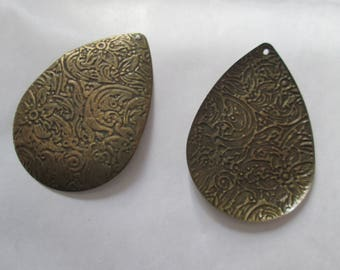 prints 2 drop pattern bronze metal flowers 45 x31mm