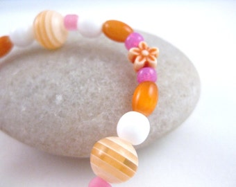 Pink and Orange Beaded Girls Bracelet with flower, Small Girls Bracelet, GBS 105