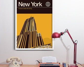 New York Print, Travel Poster - Empire State Building. Modern Graphic Design.
