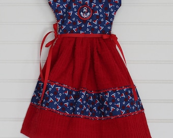 Nautical Red And Blue Kitchen Towel Dress