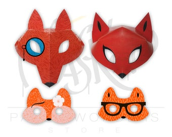 Fox mask PRINTABLE. Fox masquerade mask. Couple masks. Fox party favors. Kids mask. Kids masquerade mask. Animal mask. Fox costume mask. Fox