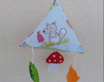 The forest theme baby mobile. Birthday gift idea. Baby game.