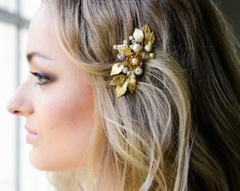 Gold Bridal hair comb, Gold Bridal headpiece, Bridal hair piece, Wedding hair piece, Wedding hair comb, Wedding headpiece, Pearl headpiece