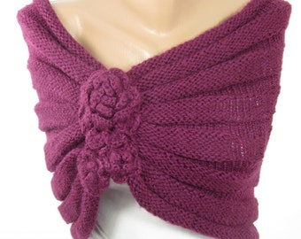 Knitted Purple Shawl Scarf Chunky Knit Scarf Ascot Neck Warmer Purple Winter Wedding Scarf For Bride Fashion Accessories Bridesmaids Gifts