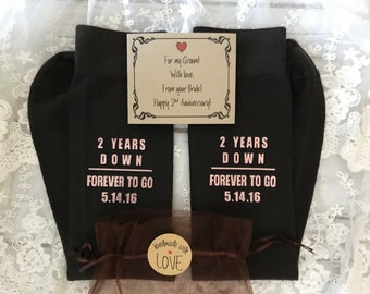 2nd Anniversary gift, FREE Anniversary Groom or Bride Socks Wrapper, Cotton for him, Cotton for her, Dress socks