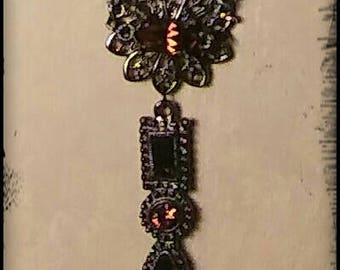 Vintage Antique Gunmetal Necklace with Brown Topaz Crystals