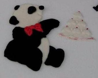 Flat backed Panda & cupcakes cakes decoration.