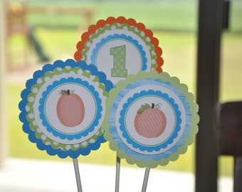 Pumpkin Centerpieces. Fall Party. Harvest. Blue. Green. Orange. Set of 3 picks. Pumpkins. Pumpkin Party.