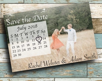 Save the date digital or physical invitation - rustic calendar wedding save the date photo invitation DIGITAL or PHYSICAL copy