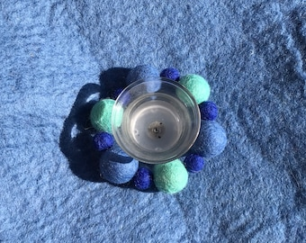 Wool Felt candle ring gift eco friendly