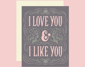 I Love You and I Like You Greeting Card | A2 | Parks and Recreation, Leslie Knope, Sweet Anniversary Card, Heartfelt Anniversary, Valentines