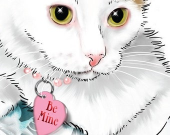 Card: Digital Download Printable Cat Greeting Card -- Be My Purrfect Valentine -- Calico Kitten Note Card, Cat with Pearl Collar & Heart Tag