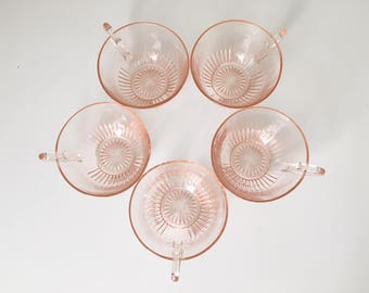 Set of 5 Pale Pink Glass Tea Cups