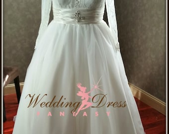 Gorgeous Plus Size Wedding Dress Chantilly Lace and Tulle Ballgown with Long Sleeves from Award Winning Wedding Dress Fantasy