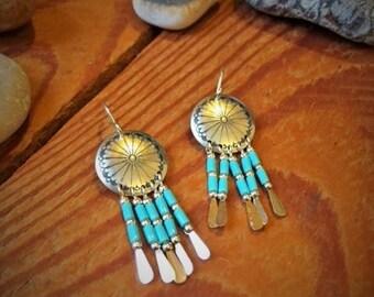 Silver & Turquoise Fan Dreamcatcher Earrings