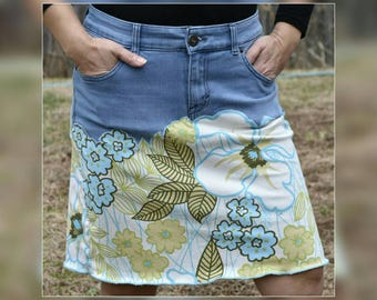 Upcycled Denim Patchwork Woman Jean Skirt, Redesigned Style & Co. Stretch Denim Skirt, Refashioned Floral Printed Patchwork Skirt, Size 8