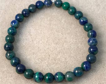 Azurite Malachite Bracelet, Azurite Bracelet, Beaded Bracelet, Bead Bracelet, Stretch Bracelet, 6mm Bracelet, Azurite Jewelry, Boho Bracelet