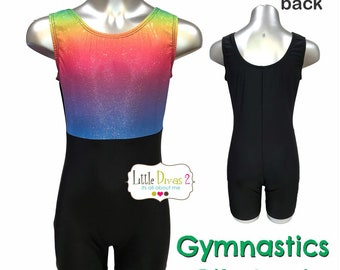 Biketard -Rainbow Spliced (Children's) Tank style Gymnastics,tumbling,dance & yoga...