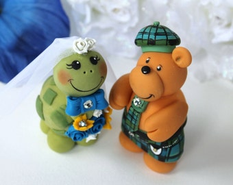 Bear and turtle wedding cake topper, scottish tartan kilt, tartan wedding, personalized wedding