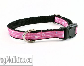 """Delicate Pink and Blue Striped Dots - Small Dog Collar - 1/2"""" Wide (13mm) - your choice of style and size"""