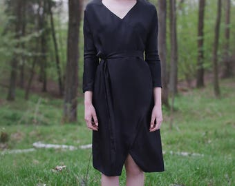 Black Dress | Silk Dress For Women | Wrap Dress | Envelope Dress | Elegant Dress | Light Dress