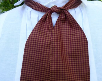 Burgundy and  gold checked silk cravat, 19th century style