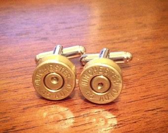 Winchester 45 Auto Bullet Brass Cufflinks