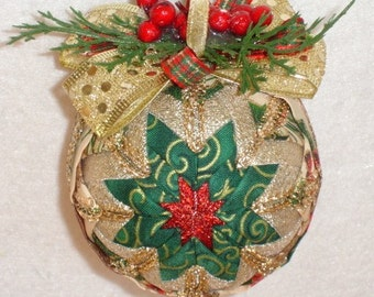 Pinecones and Berries Quilted Christmas Ornament