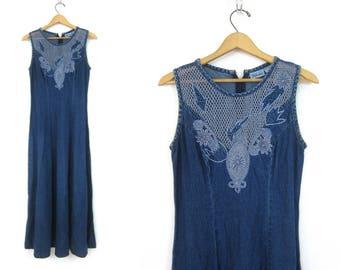 Long Blue Denim Dress Long Vintage Sleeveless Boho Dress Denim Hipster Dress Preppy Summer Dress Women's size 6 Small Medium