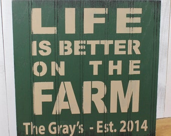 LIFE is Better on the FARM Sign/Personalized/Khaki/Forest Green/Farm Sign/Personalized/Farm Sign/Established