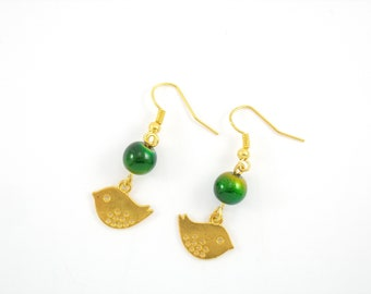 Gold Earrings, glass beads blue and green shades with bird charm