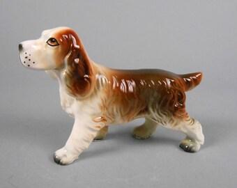 Springer Spaniel Vintage Japan Porcelain Figurine Brown and White Dog