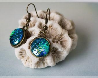 Mermaid Scales Earrings, Silver Earrings, Bronze Earrings, Mermaid Jewelry, Mermaid Earrings, Mermaid Accessories, Mermaid Gifts, Earrings