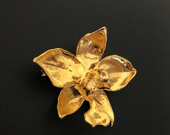 22 K Gold Plated Orchid Flower Brooch and Pendant Necklace