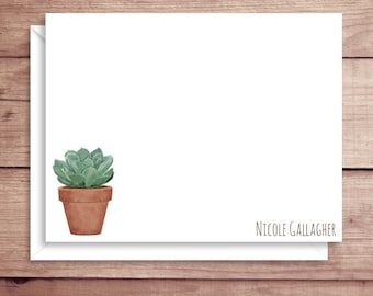 Succulent Flat Note Cards - Succulent Note Cards - Succulent Thank You Cards - Personalized Succulent Stationery - Plant Note Cards