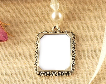 Pearl Wedding Bouquet Photo Frame Charm | Memory Wedding Photo Frame Charm | Memorial Photo Frame Charm |  Picture Frame Charm | Keepsake