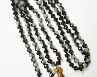 Bead Necklace / Hand Knotted Necklace / Grey Crystal / Abalone Shell / Jewelry / Necklace / Layering / Tooth Charm