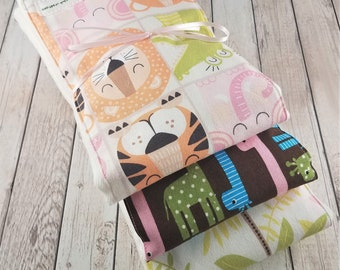 Baby Girl Burp Cloth Set - Jungle - lion - giraffe - tiger
