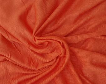 Orange Modal Spandex 2x1 Rib Fabric by the Yard 4 Way Stretch 7/16