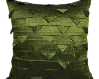 Solid Moss Green Pillow Cover Solid Moss Green Euro Sham Origami Folds Pillow & Sham 14x14 16x16 18x18 20x20 22x22 24x24 26x26
