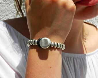 Women leather bracelet,leather bracelet,leather bracelet for women,beaded bracelet, silver plated,PC015