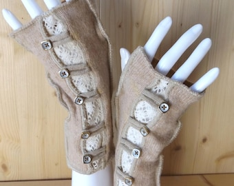Beige and ecru arm warmers, fingerless texting gloves in soft, upcycled natural Scottish woollen fabrics, with buttons and lace.