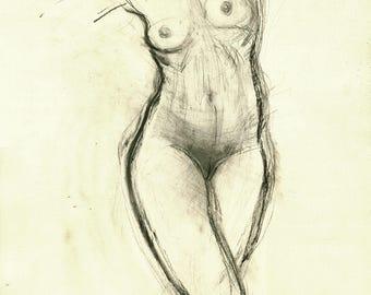 """Originalzeichnung, """"Hommage à Degas XXXVIII"""", Mischtechnik auf Papier, Aktzeichnung 59x40 cm"""