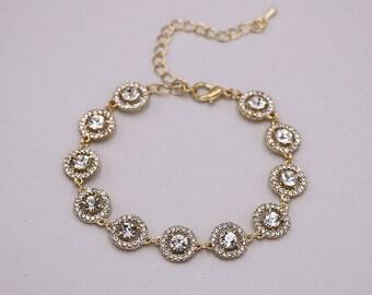 Gold Rhinestone Bridal bracelet, wedding bracelet, rhinestone crystal bracelet, crystal bracelet, bridal jewelry, Carolina Gold Bracelet