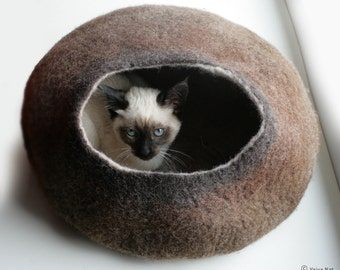 Cat Nap Cocoon Hideaway / Cat Cave / Cat Bed / House / Vessel - Hand Felt Wool - Crisp Contemporary Design - READY TO SHIP Warm Brown Stone