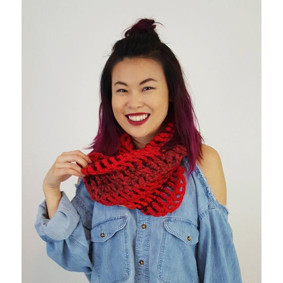 Handmade Red Cowl Circle Scarf - Boho Hipster Hand Knitted Recycled Fashion Accessory - Soft Warm Fall Ecofriendly Striped Womens Cowl Scarf